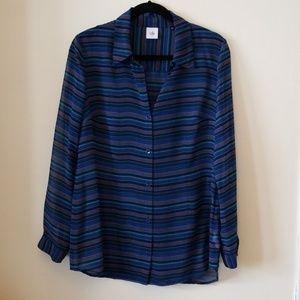 CAbi blue long sleeve blouse